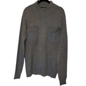 Studio 8t Sweater  Zip Front Pocket Gray Large